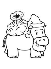 father christmas santa claus hat sack winter gifts nicholas comic cartoon sweet little cute child happy hippo