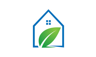 Eco home concept with leaf logo