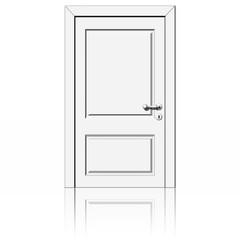 Porta bianca chiusa su sfondo bianco.