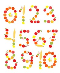 Set of figures and numbers. Illustration for children. Apples, bananas, lemons, oranges and cherries.