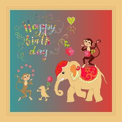 Colorful cute Happy birthday card with cheerful elephant, crocodile and monkeys.