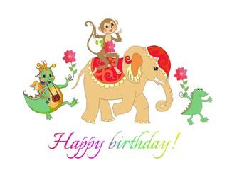 Colorful cute Happy birthday card with cheerful elephant, crocodile and monkey.
