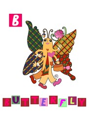 Cute cartoon english alphabet with colorful image and word. Kids vector ABC on white background. Letter B.