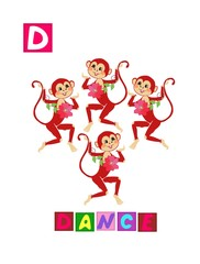 Cute cartoon english alphabet with colorful image and word. Kids vector ABC on white background. Letter D.