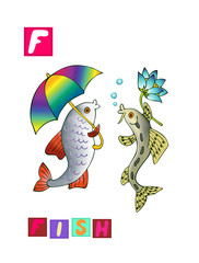 Cute cartoon english alphabet with colorful image and word. Kids vector ABC on white background. Letter F.