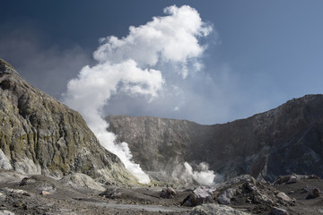 Inside the crater of White Island, New Zealand showing the main fumarole