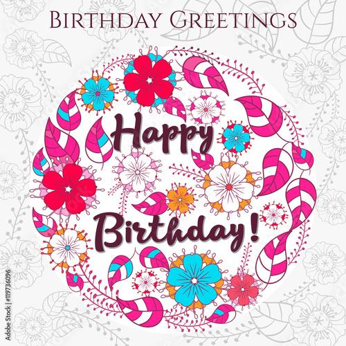 Template greeting card happy birthday made of flowers - Mandala anniversaire ...
