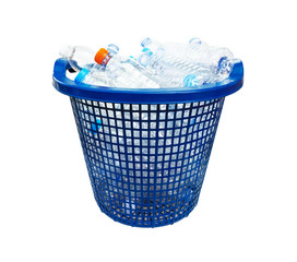 Recycle plastic bottles in a basket of blue on white background