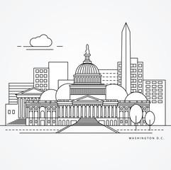 Linear illustration of Washinton DC, US Flat one line style. Greatest landmark - Capitol