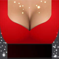 Sexy girl wearing red dress. Party poster template with closeup realistic woman bust. Magic
