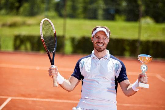 Male winner in tennis match