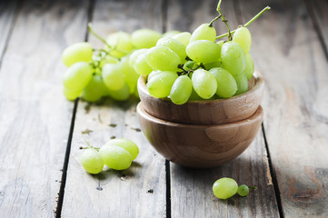 White grape on the wooden table