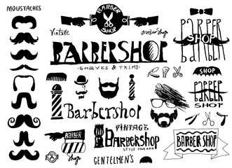Set of vintage Barbershop (hair salon) logo, labels, badges, street signs and design element. Hand drawn collection vector