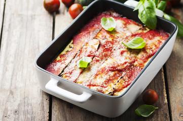 Italian traditional parmigiana with zucchini