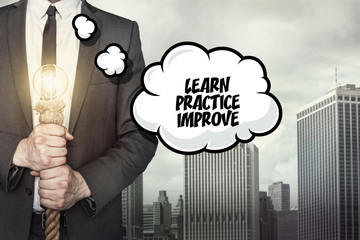 Learn practice improve text on speech bubble with businessman
