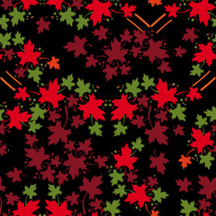 Leaf fall. Autumn seamless pattern with colorful maple leaves. Vector clip art.