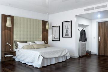 Ein modernes Hotelzimmer - Schlafzimmer