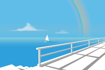 Sailing boat on the sea with rainbow
