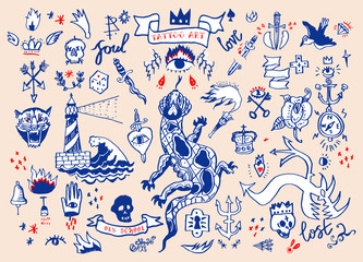 Big vector set of hand drawn old school tattoo. Cartoon tattoo elements