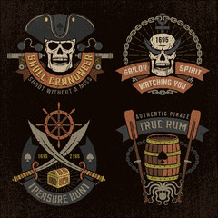 Pirate emblem with skulls