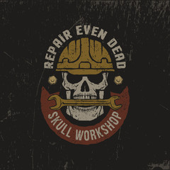 Repair workshop logo in a grunge style. Skull in helmet with wrench and banner. Textures on separate layers - easily editable.