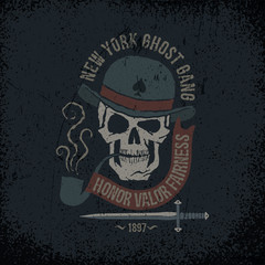 Gangster grunge logo with a skull in a bowler hat, with a pipe, dagger and banner. Textures on separate layers - easily editable.