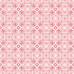 abstract pattern of the various shapes and lines. vector illustration. seamless. pink color.