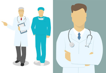 Male doctor, the doctor set of characters , vector