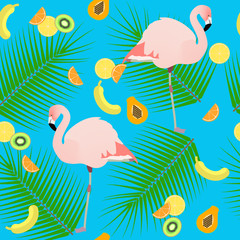 Seamless texture , flamingos in the background of leaves and fru