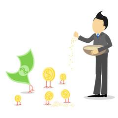 Businessman feeding poultry , money , growing revenues