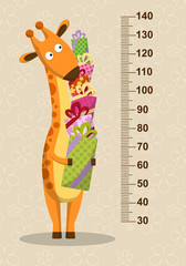 Cartoon giraffe with gifts on a beige background. Stadiometer. Vector