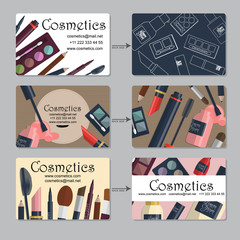 Makeup artist business card. Set of cosmetics for your design. Vector
