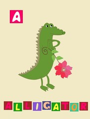 Cute cartoon english alphabet with colorful image and word. Kids vector ABC. Letter A.