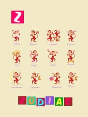 Cute cartoon english alphabet with colorful image and word. Kids vector ABC. Letter Z.