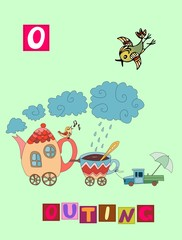 Tea history. Cute cartoon english alphabet with colorful image and word. Kids vector ABC. Letter O. Outing.