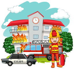 Fire scene with fireman at the building