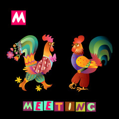Year of the rooster. Cute cartoon english alphabet with colorful  image and word. Kids vector ABC. Letter M