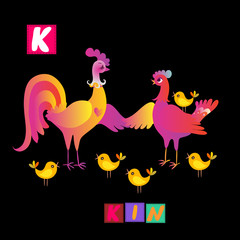 Year of the rooster. Cute cartoon english alphabet with colorful  image and word. Kids vector ABC. Letter K