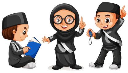 Three muslim kids in black costume