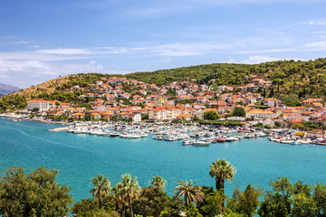 Trogir town panoramic view, Croatia Trogir. Croatian tourist des