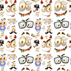 Seamless background with different facial expressions