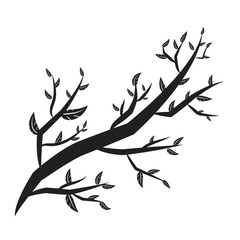 tree branches with lot of leaves silhouette isolated on white ba