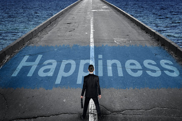 Happiness message on road
