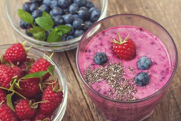 blueberries raspberry  smoothies   (Top view )