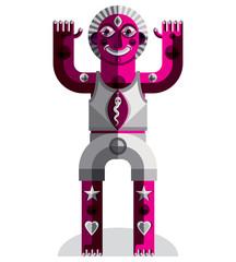 Vector avant-garde illustration of mythic person, pagan symbol.
