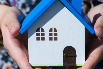 Home image, blue house toy in hands