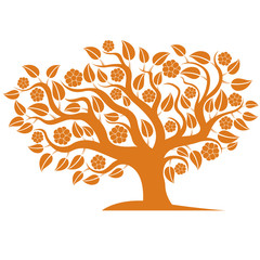 Vector illustration of spring branchy tree with beautiful blosso