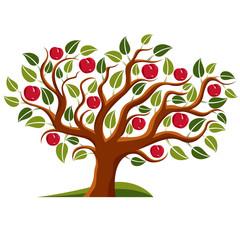 Tree with ripe apples, harvest season theme illustration. Fruitf