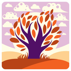 Art vector graphic illustration of creative tree growing on wond