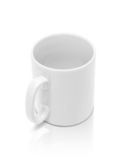 white ceramic mug isolated on white background